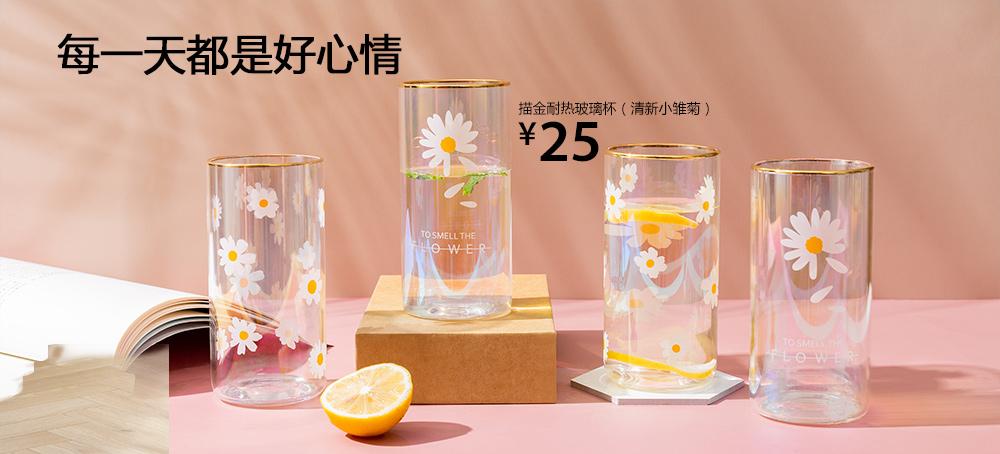 描金耐热玻璃杯(清新小雏菊)